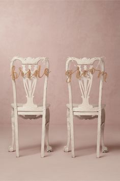 Calligraphy Chair Signs in Décor Decorations at BHLDN Reception Table Decorations, Wedding Decorations, Dusky Pink Weddings, Bhldn Wedding Dress, Bridal Gowns, Wedding Dresses, All I Ever Wanted, Bride Accessories, Wedding Signs