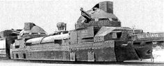Russian armoured train from WWI , used by Czech Legion in Russian Civil War - 1918-1920.    During World War I Russia used a mix of light and heavy armoured trains. The heavy trains mounted 4.2 inch or 6 inch guns, the light trains were equipped with 76.2mm guns. Austria-Hungary also fielded armoured trains against the Italians in World War I.