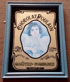 VTG 1970s CHOCOLAT POULAIN FRENCH PICTURE MIRROR VICTORIAN EDWARDIAN SHABBY CHIC