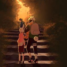 Anime: Naruto Personagens: Hatake Kakashi, Uzumaki Naruto, Haruno Sakura e Uchiha Sasuke Naruto Team 7, Naruto And Sasuke, Manga Naruto, Naruto Fan Art, Kakashi Sensei, Naruto Shippuden Anime, Sakura And Sasuke, Hinata, Photo Naruto