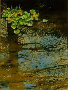 marsh marigolds with pine reflection / jessie's stream x micheal zarowsky watercolour on arches paper private collection Marsh Marigold, Arches Paper, Painting & Drawing, Watercolour, Pine, Reflection, Paintings, Fine Art, Landscape