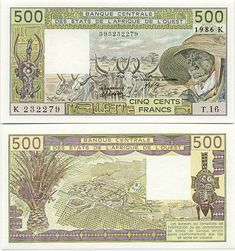 Senegal 500 Francs 1986 (herdsman; herd; mask; city)