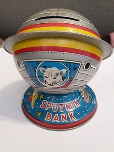 Sputnik-Tin-Toy-Bank-Patent-Excellent-Condition-Mid-Century-1950s Vintage Tins, Tin Toys, Banks, Snow Globes, 1950s, The Past, Conditioner, Mid Century, Collections
