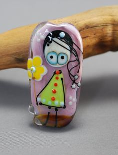 LITTLE MISS glass focal bead pink background by jperaladesigns, $40.00