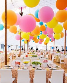 Colorful Hanging Balloons in Zephyr Tent - Lighting Design by Got Light in 2020 Balloon Decorations, Wedding Decorations, Adult Party Decorations, Hanging Balloons, Large Balloons, Balloons Galore, Rainbow Wedding, Event Decor, Gala Decor