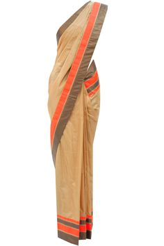Dull gold sari with orange border available only at Pernia's Pop-Up Shop.