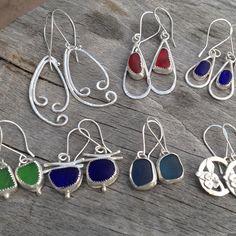 Sea Glass and Silver Earring Binge.  #seaglass #jewelry #artisan…