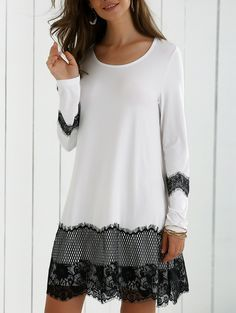 Long Sleeve Lace Splicing Comfy Dress - White And Black Xl Mobile Pretty Outfits, Beautiful Outfits, Cool Outfits, Fashion Outfits, Womens Fashion, Fashion Trends, Fashion Site, Unique Outfits, Cheap Fashion