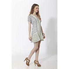 Vestido corto combinando dos estampados florales tipo liberty separado por puntillas Verde - Mauna Barcelona - fashion - moda