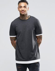 ASOS+Longline+T-Shirt+With+Contrast+Cuff+And+Hem+In+Charcoal