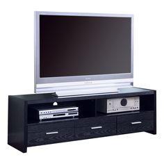 Coaster Company Media Console With Shelves and Drawers (Black), Brown