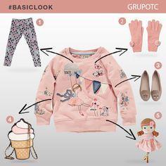 Delicado conjunto para nenas en tonos pasteles y además ¡Muy divertido! #BasicLook