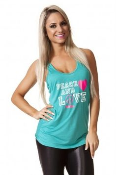 Tank Shirt Peace and Love Green - Pink Gym REGX14028 Dani Banani Fashion Fitness