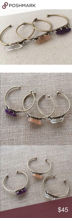 raw crystal quartz cuff bracelets Raw crystal quartz brass cuff bracelets in clear, peach and amethyst. These boho chic cuffs are great for stacking or wearing alone.   ♡ Listing is for one ♡ Price is firm unless bundled ♡ No trades Jewelry Bracelets