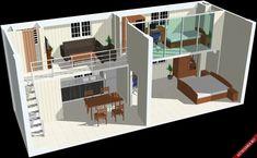 bản vẽ, nhà cấp 4, gác lửng, nội thất, kiến trúc, không gian nhỏ, phối cảnh