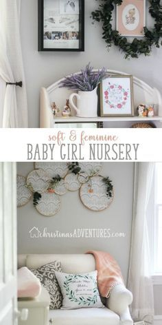 This baby girl nursery design is soft, feminine, and perfectly cozy for those newborn snuggles. Gray walls and touches of soft pink and vintage elements make up this space. Kids Bedroom Designs, Nursery Design, Baby Design, Playroom Wall Decor, Nursery Decor, Nursery Ideas, Nursery Inspiration, Home Decor Inspiration, Decor Ideas
