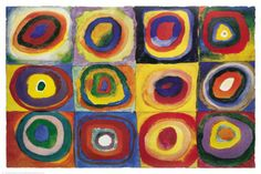 Farbstudie Quadrate, c.1913 composition: overall, symmetry, repetition> rhythm color: primary/secundary, some tertiairy contrast: light/dark, warm/cold shape: circular, no sharp divisions, 'loosely painted'
