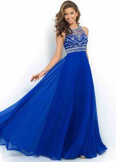 2015 Sapphire High Neck Beaded Criss Cross Back Evening Dress
