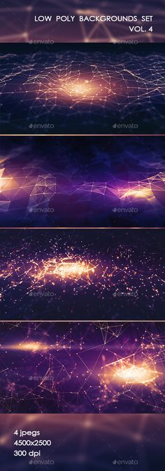 Low Poly Set vol.4 by Betty_sue Abstract raster illustrations of low poly network, crystal cell, galaxy with stars and others themes for your creativity. 4500脳250