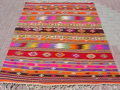 VINTAGE Turkish Kilim Rug Carpet Cicim embroidered by sofART