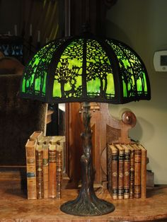 Fabulous Wooded Scenic Slag Glass Lamp w/ Tree Trunk Base from stidwillsantiques on Ruby Lane