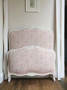 Bed upholstered by Stenvall interiors in Sarah Hardaker's beautiful fabric