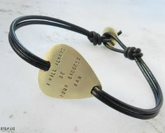 Personalized brass guitar pick leather bracelet. Men's leather bracelet.Custom hand stamped bracelet.