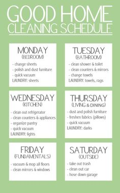 Good Home Cleaning Schedule.: