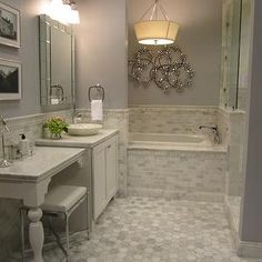Carrera Marble Tiles, Contemporary, bathroom, Sherwin Williams Lazy Gray