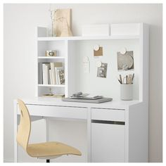 IKEA - MICKE, Add-on unit-high, white, Extra room above the top shelf where you can keep your books, CDs or DVDs. The side panels act as bookends and keep everything in place. Fits MICKE desk This product has been developed and tested for domestic use. Bedroom Desk, Room Decor Bedroom, Ikea Bedroom Design, Bedroom Plants, Bedroom Kids, Dorm Room, Home Office Design, Home Office Decor, Office Desk