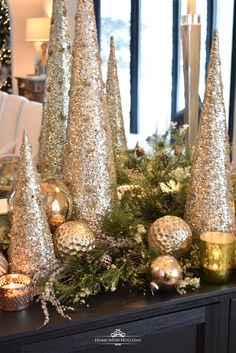 Silver and Gold Glam Christmas Centerpiece – Home with Holliday - Tischdeko Weihnachten Centerpiece Christmas, Rose Gold Christmas Decorations, Types Of Christmas Trees, Christmas Tablescapes, Christmas Mantels, Holiday Decor, Christmas Villages, Cone Christmas Trees, Seasonal Decor