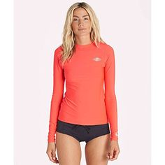 Billabong Womens Core Loose Fit Long Sleeve Wet Shirt Rashguard Red Hot Medium *** Details can be found by clicking on the image.Note:It is affiliate link to Amazon.
