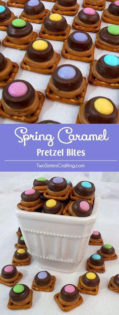 These Spring Caramel Pretzel Bites are a great Easter treat. Sweet, salty, crunchy and delicious they are a perfect Easter Dessert, Mother's Day Treat or even a Spring Sunday Brunch dessert. Follow us for more Easter Food ideas.