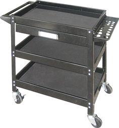 Powerfist 3-Shelf / 1-Drawer Steel Service Cart