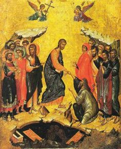 The Descent into hell. Attributed to Andreas Ritzos. The State Hermitage Museum, St Petersburg. Byzantine Art, Byzantine Icons, Religious Icons, Religious Art, Christ Is Risen, Russian Icons, Hermitage Museum, Catholic Art, Art For Art Sake
