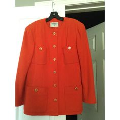 """Chanel Boucle Orange Jacket. Voted a """"Top Spring Jacket"""" by Tradesy members! The Chanel Boucle Orange Jacket is almost sold out...See all Chanel jackets on Tradesy"""