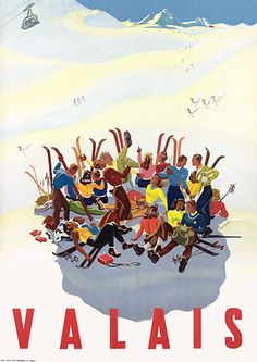 Valais Vintage Skiing 1940s Posters Prints