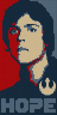 """Luke Skywalker """"Hope"""" LEGO® Mosaic - 15 in x 30 in by CreativeSquareStudio on Etsy https://www.etsy.com/listing/232616041/luke-skywalker-hope-lego-mosaic-15-in-x"""