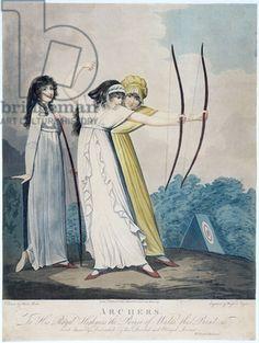 #London2012. Women's archery has begun. Archers, engraved by J.H. Wright (fl.1795-1838) and Conrad Ziegler, 1799 (aquatint) by Adam Buck / Yale Center for British Art