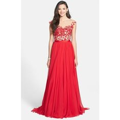 Women's Sherri Hill Cap Sleeve Lace & Chiffon Gown featuring polyvore, fashion, clothing, dresses, gowns, chiffon gown, sherri hill dresses, lace chiffon dress, chiffon dress and lace gown