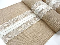 Wedding table runner Burlap table runner wedding table top with vintage ivory Italian lace  , handmade in the USA
