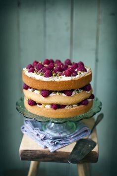 Raspberry, pistachio and rose cake