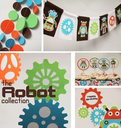 Taffie Wishes: Introducing: The Robots & Gears Collection 4th Birthday Parties, Boy Birthday, Birthday Ideas, Monster Truck Party, Party Central, Happy Party, Party Themes, Party Ideas, Birthday Decorations