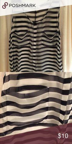 Sheer Striped Tank Flowy, striped, sheer tank with breast pockets. BB Dakota Tops Tank Tops