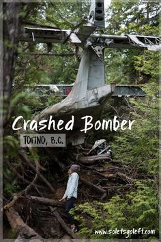 Deep in the temperate rainforests near Tofino, there is a World War II bomber plane lodged into a marsh.  It crashed there in 1945, when its engine failed right after takeoff.  Tofino was a front l…