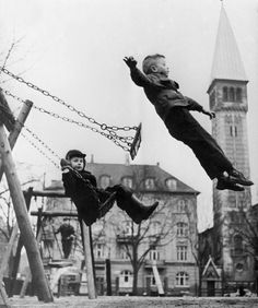 Jumping off the playground swing. Unknown source