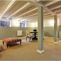 An Unfinished Basement: Stain The Ceiling, Paint The Walls, Put In Wooden  Floors. | Guest Room/basement | Pinterest | Basements, Ceilings And Walls