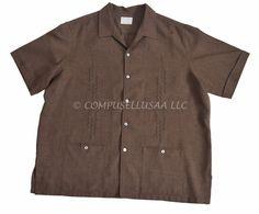 D'ACCORD 3XL BROWN Classic Cuban Guayabera Shirt XXXL #DAccord #ButtonFront
