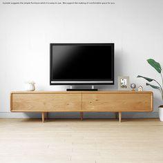 リモコンの赤外線が通る天然木扉のテレビボード。受注生産商品 幅200cm ナラ材 ナラ天然木 扉を閉めたままデッキのリモコン操作ができる木扉 北欧家具 丸みのあるテレビボード ローボード テレビ台 ウォールナット材でもオーダー可能