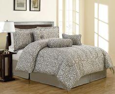 7 Piece Queen Clemence Gray Jacquard Comforter Set